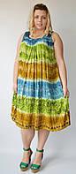 Платье свободное (ламбада) голубое, салатовое, коричневое,  до 58-го размера