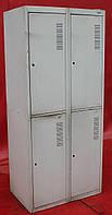 Шкаф для переодевания металлический. Двойной на 4 дверки. 180х80х50 см., Серый, Б/у, фото 1