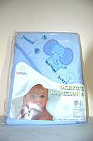 Полотенце с капюшоном  для купания детей с термопечатью (100х100 см) тм Duetbaby ( Польша)