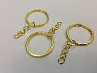 Плоское кольцо с цепочкой. Цвет золото. 25мм