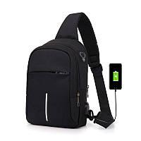 Городской мужской чоловічий однолямочный рюкзак бананка месседжер City Bag c USB портом, черный