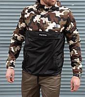 Мужская куртка анорак на флисе TNF Supreme камуфляж
