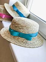 Соломенная шляпа канотье с бирюзовой лентой