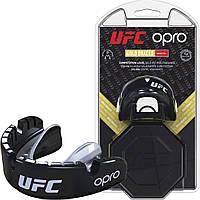 Капа Opro Gold Braces Ufc Hologram Black Metal-Silver R145154
