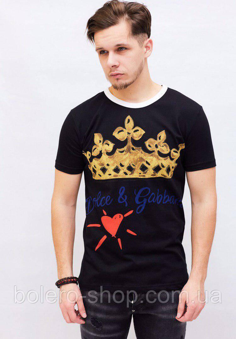 Футболка мужская Dolce&Gabbana черная с принтом корона