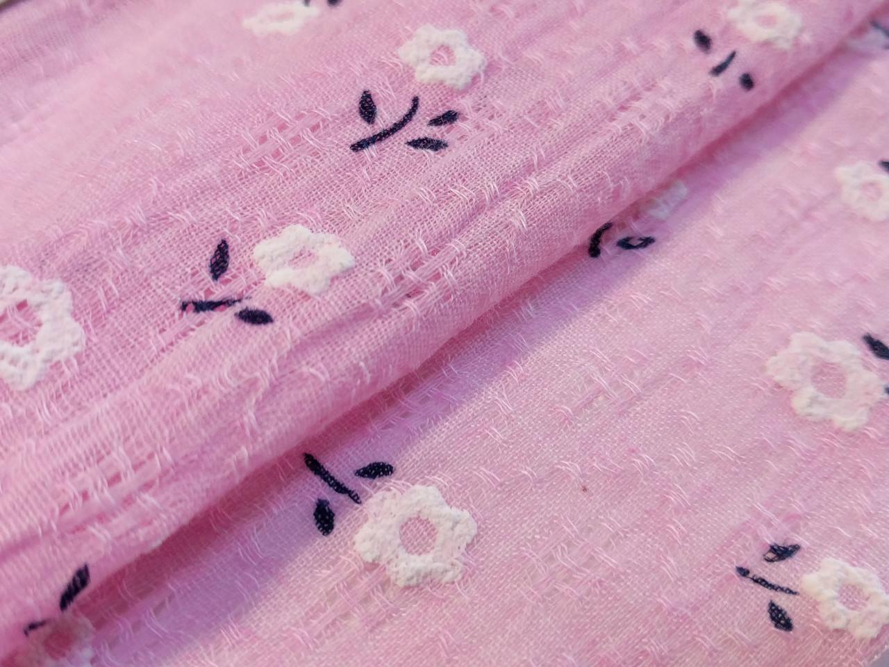 Тонкий коттон марлевка мелкий цветочек, розовый
