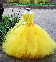 Платье жолтое розами пышное бальное выпускное длинное в пол нарядное для девочки в садик или школу, фото 1