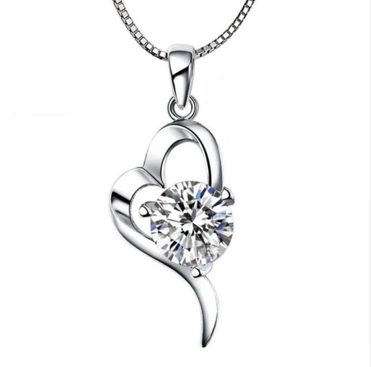 Кулон из серебра Сердце стерлинговое серебро 925 проба с белым куб. цирконием