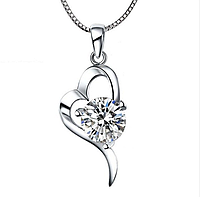 Кулон из серебра Сердце стерлинговое серебро 925 проба с белым куб. цирконием , фото 1