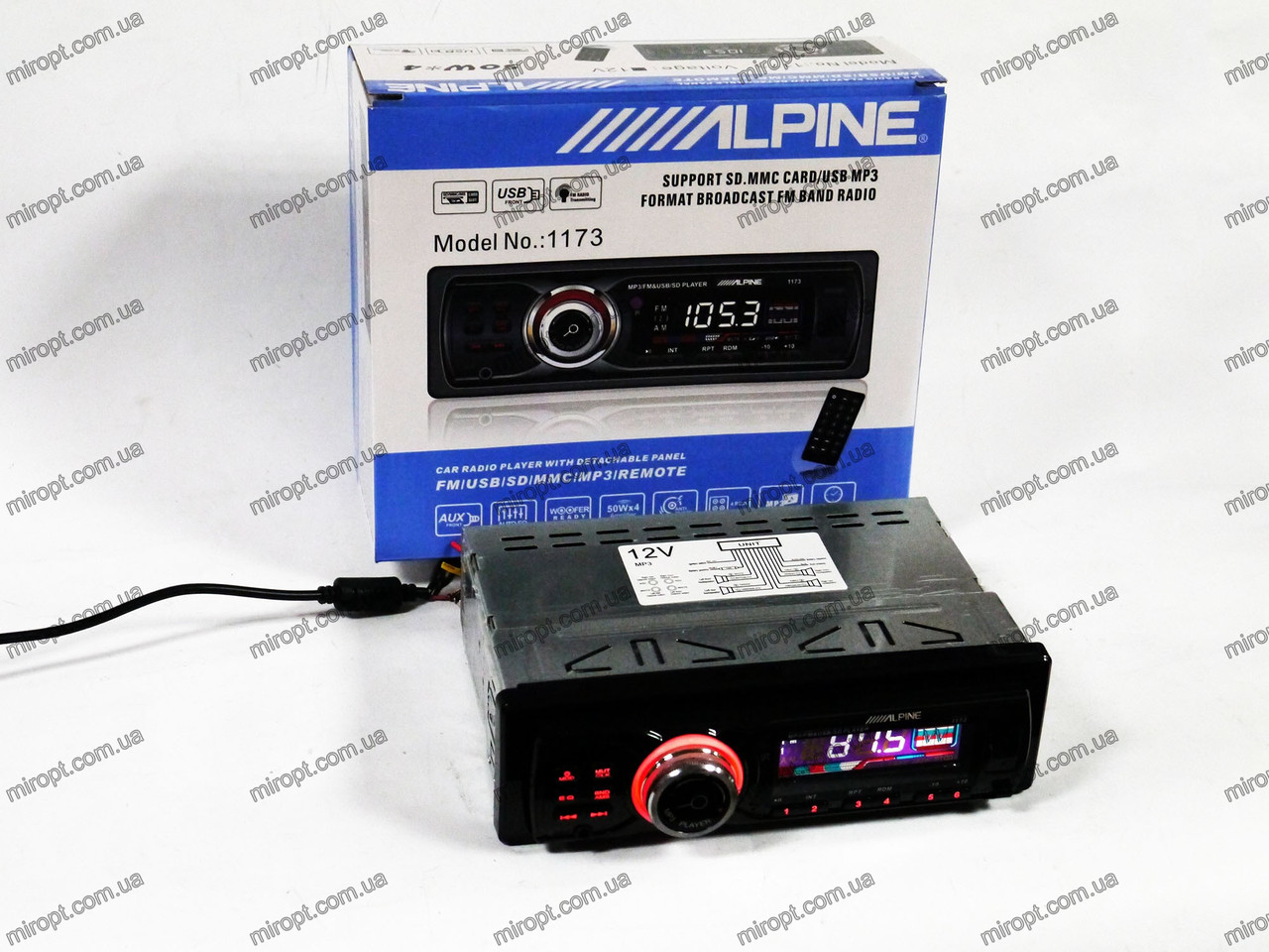 Магнитола MP3 Alpine 1173 - USB + SD +AUX + FM