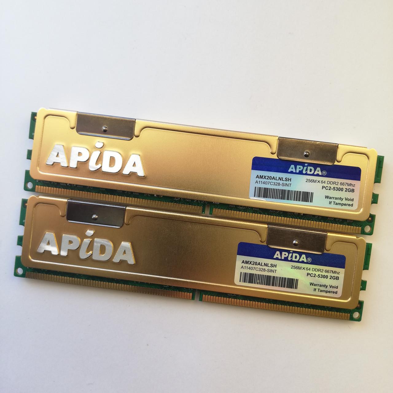 Комплект оперативной памяти Apida DDR2 4Gb (2Gb+2Gb) 667MHz PC2 5300U CL5 (AMX20ALNLSH) Б/У