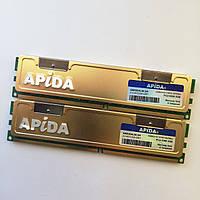 Комплект оперативной памяти Apida DDR2 4Gb (2Gb+2Gb) 667MHz PC2 5300U CL5 (AMX20ALNLSH) Б/У, фото 1
