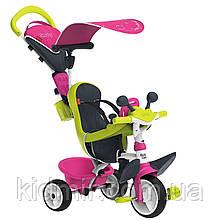 Велосипед трехколесный с козырьком и багажником розовый Baby Driver Confort Tricycle Smoby 741201