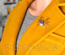 Брошь черный паук с жемчужиной ювелирная бижутерия, фото 3