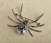 Брошь черный паук с жемчужиной ювелирная бижутерия, фото 2