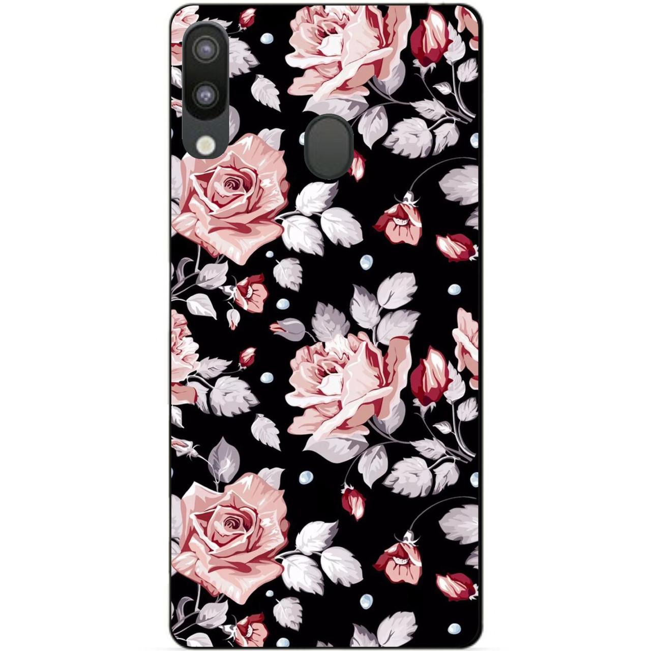 Чехол силиконовый для Samsung M20 с рисунком Розы на черном