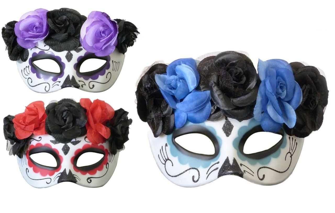 Полу маска пластик День мертвых  (3 цвета)