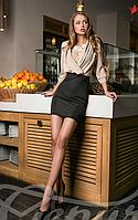 Женское элегантное платье сшитое из двух разных видов ткани юбка облегающая крепдешин микродайвинг , фото 1