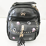 Сумка-рюкзак з мистецтв.шкіри Китай (чорний)22*23см, фото 2