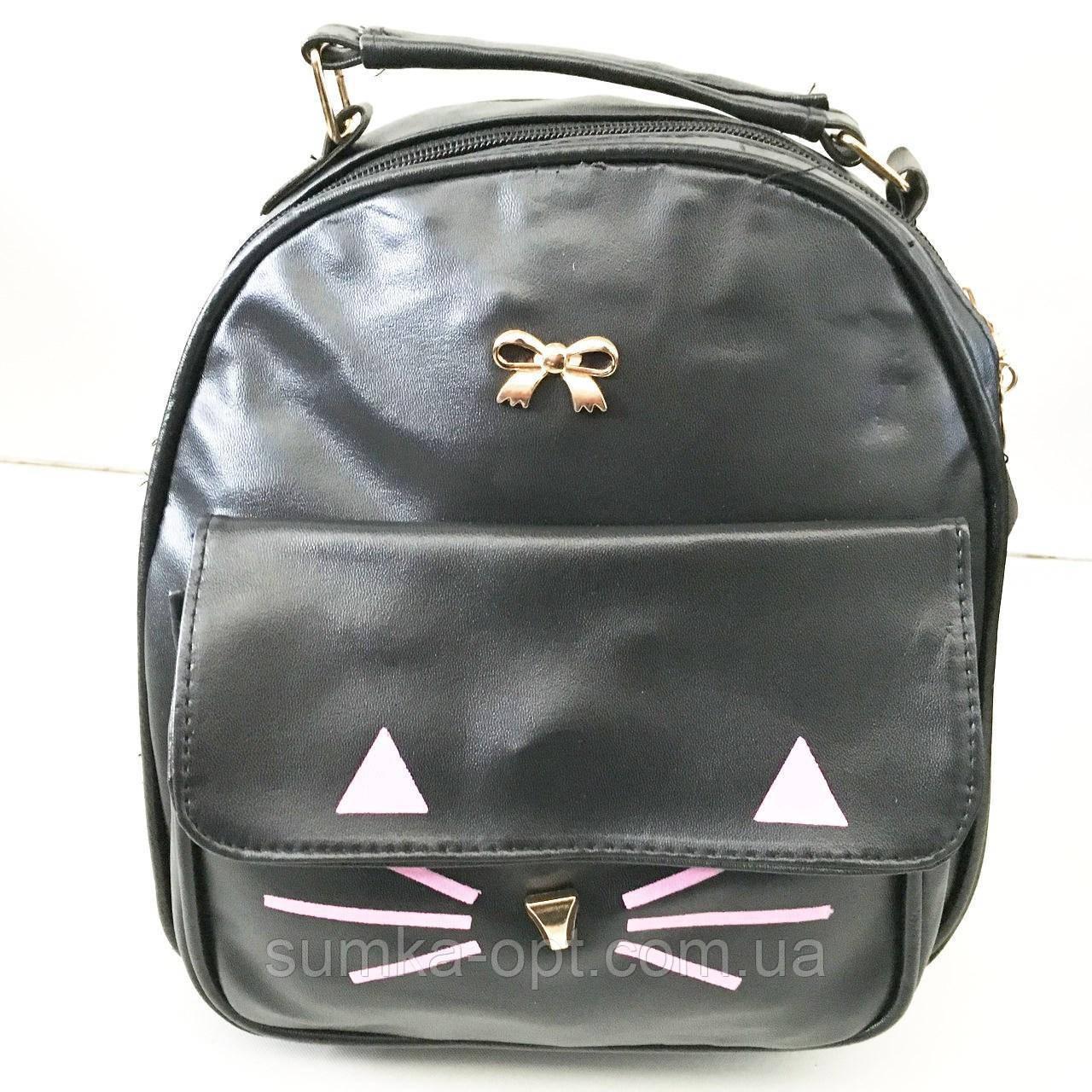 Сумка-рюкзак з мистецтв.шкіри Китай (чорний)22*23см