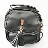 Сумка-рюкзак з мистецтв.шкіри Китай (чорний)22*23см, фото 4