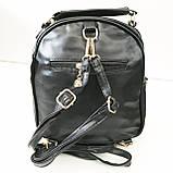 Сумка-рюкзак з мистецтв.шкіри Китай (чорний)22*23см, фото 5