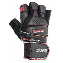 Перчатки для тяжелой атлетики Power System Ultimate Motivation PS-2810 Black Red Line S - 145696