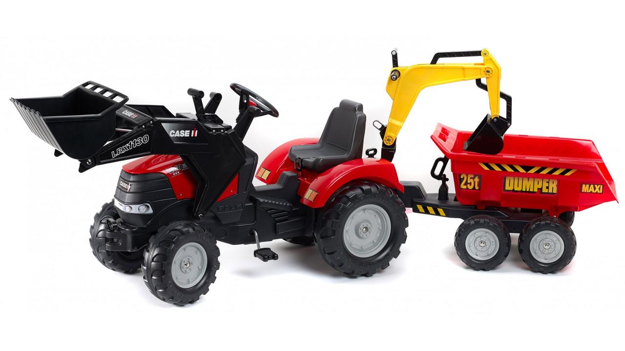 Дитячий трактор на педалях з причепом і ковшем Case ih puma FALK 995W
