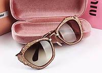 Женские солнцезащитные очки MiuMiu smu 04Q золото, фото 1