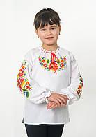 Вышиванка на девочку Петриковка белая длинный рукав