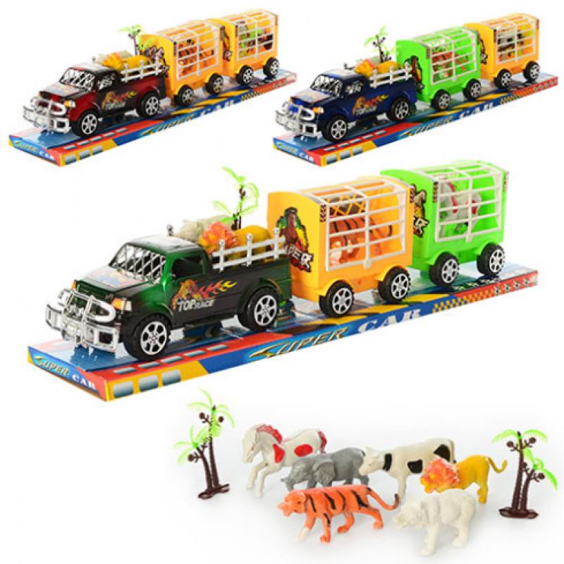 🔥✅ Детская машинка Джип инерционный с прицепом 906-100/734976 и животными
