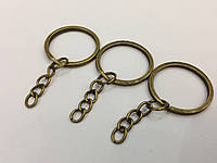 Плоское кольцо с цепочкой. Цвет старая латунь. 25мм