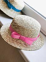 Соломенная шляпа канотье с розовой лентой