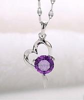 Серебряный кулон Сердце стерлинговое серебро 925 проба с фиолетовым камнем , фото 1