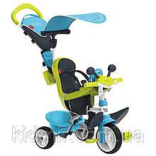 Велосипед трехколесный с козырьком и багажником голубой Baby Driver Confort Tricycle Smoby 741200