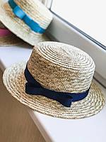Соломенная шляпа канотье с темно-синей лентой