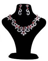 Свадебный набор бижутерии с красным камнем (110)
