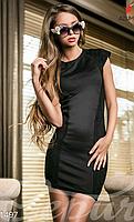 Молодежное женское короткое облегающее платье короткий рукав вставка гипюр французский трикотаж , фото 1