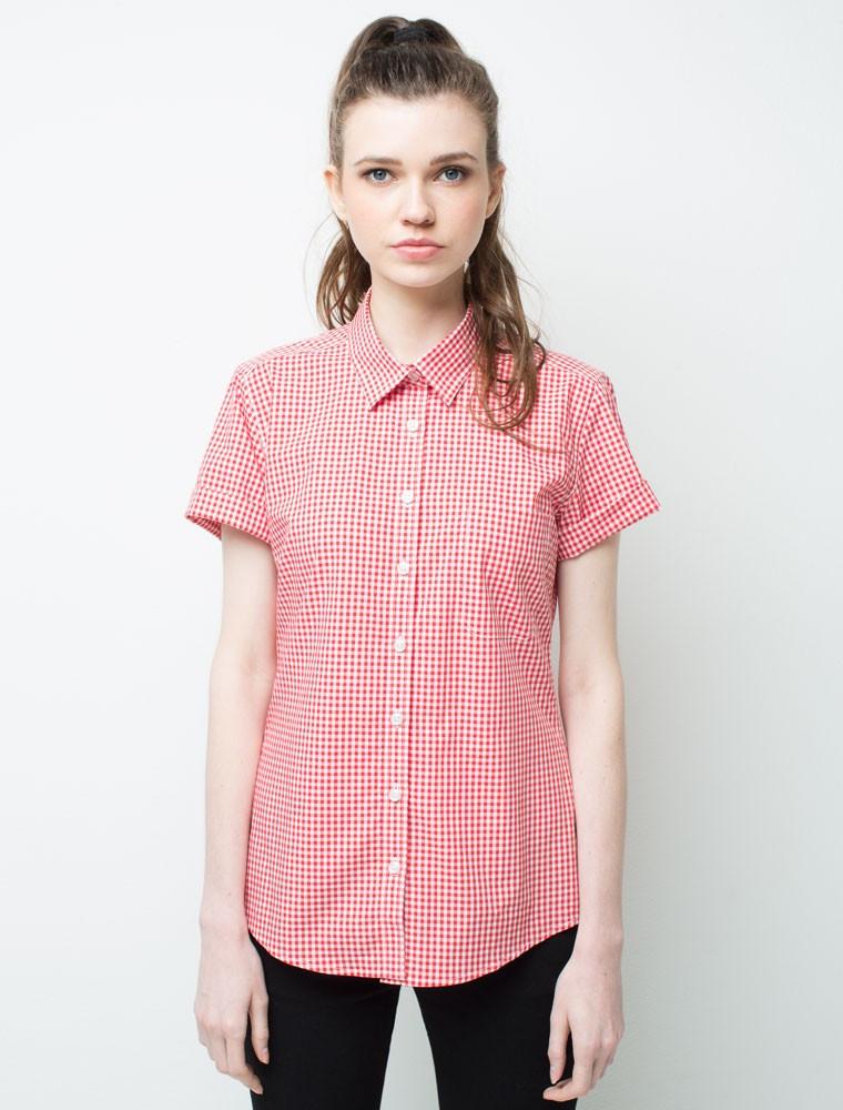 Рубашка для официанта женская клетчатая красная Atteks - 02314