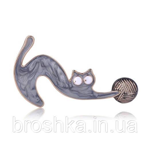 Брошь серая кошка ювелирная бижутерия