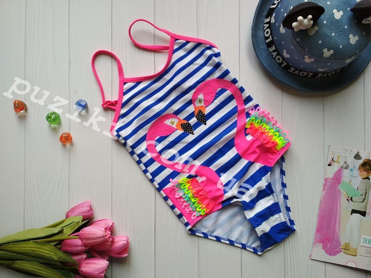 Закрытый детский купальник в полоску Фламинго для девочки 28-36р