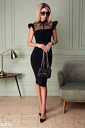 Элегантное вечернее платье футляр с рюшами