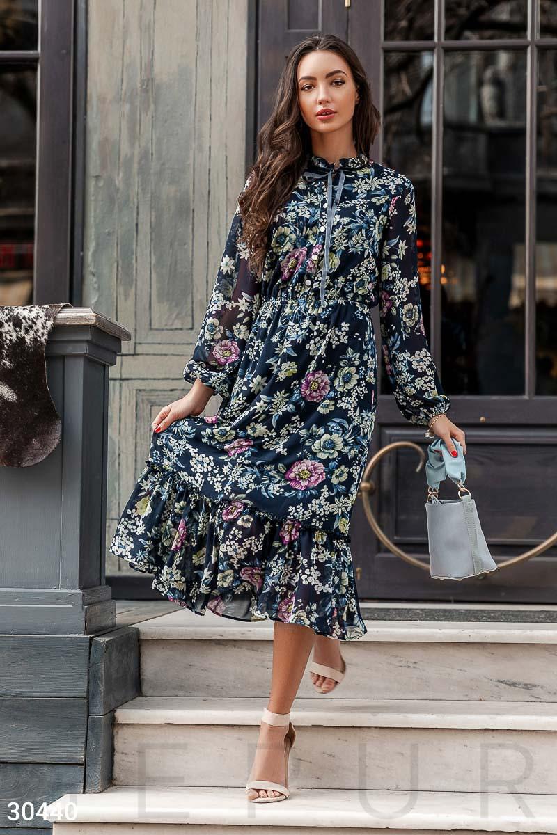 bad63116b39 Шифоновое Платье с Цветочным Принтом Синее — в Категории