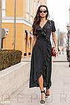 Платье с запахом в горошек черное, фото 2
