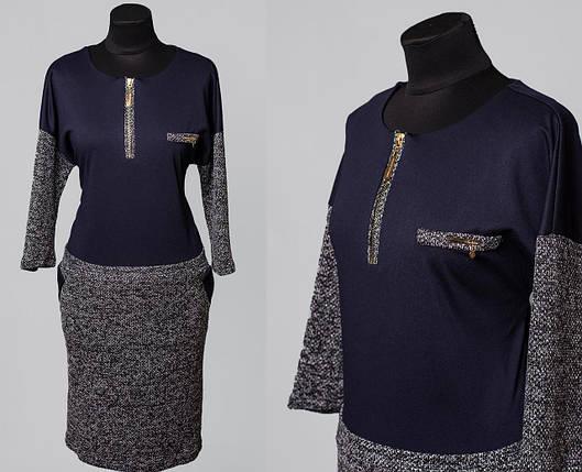 """Нежное женское платье ткань """"Букля + Французский трикотаж""""  56 размер батал, фото 2"""