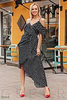 Летнее платье на тонких бретельках в горошек черное