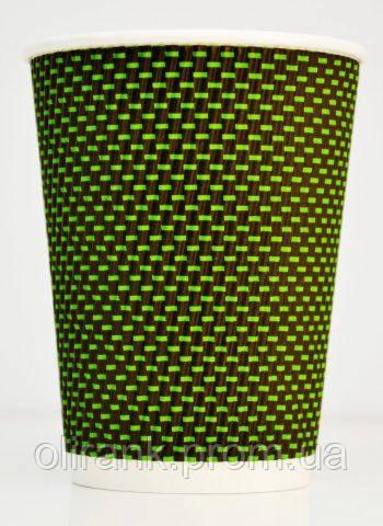 Стакан паперовий RIPPLE  430 мл 3Д зелений 15шт/уп (40уп/ящ) (кр-90)