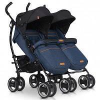 Детская прогулочная коляска-трость для двойни EasyGo Duo Comfort Denim