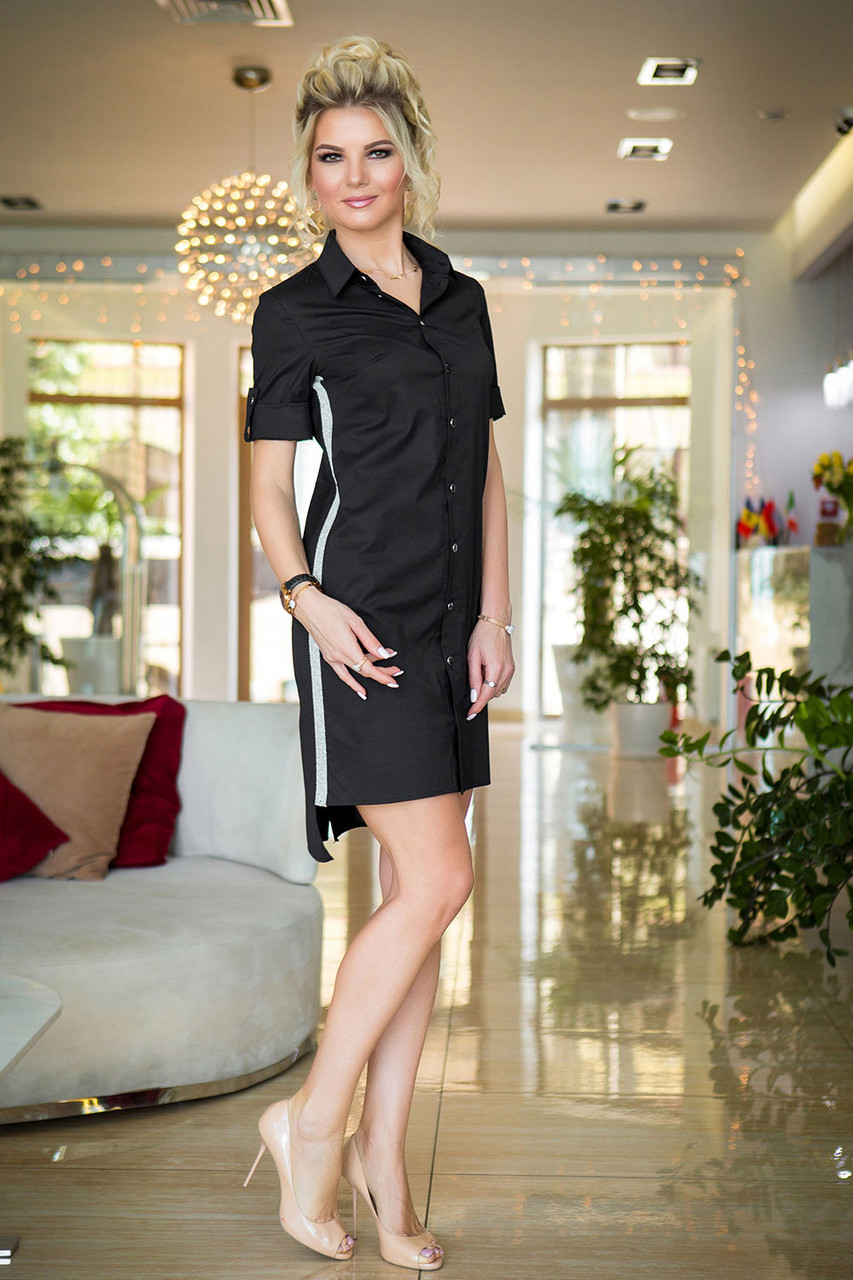 Черное Платье-рубашка с лампасами