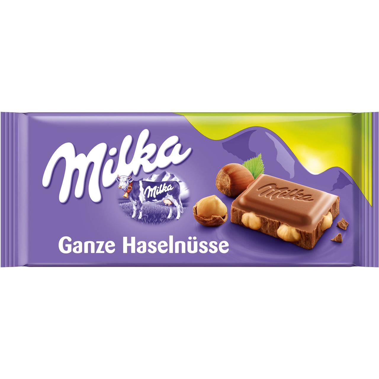 Шоколадка Milka Ganze с цельным фундуком